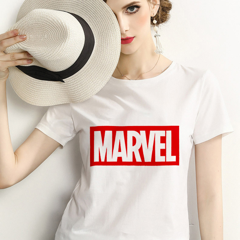 2019 Fashion comic Marvel Short Sleeve   T     shirt   Women print Harajuku Tshirt O-neck letter   T  -  shirt   White Tops Female Clothing