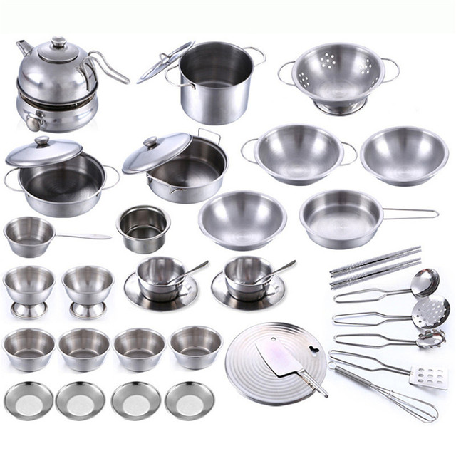 Kids Kitchen Utensils Play House Cooking Toys More Style Stainless Steel Pots Pans Tools Pretended