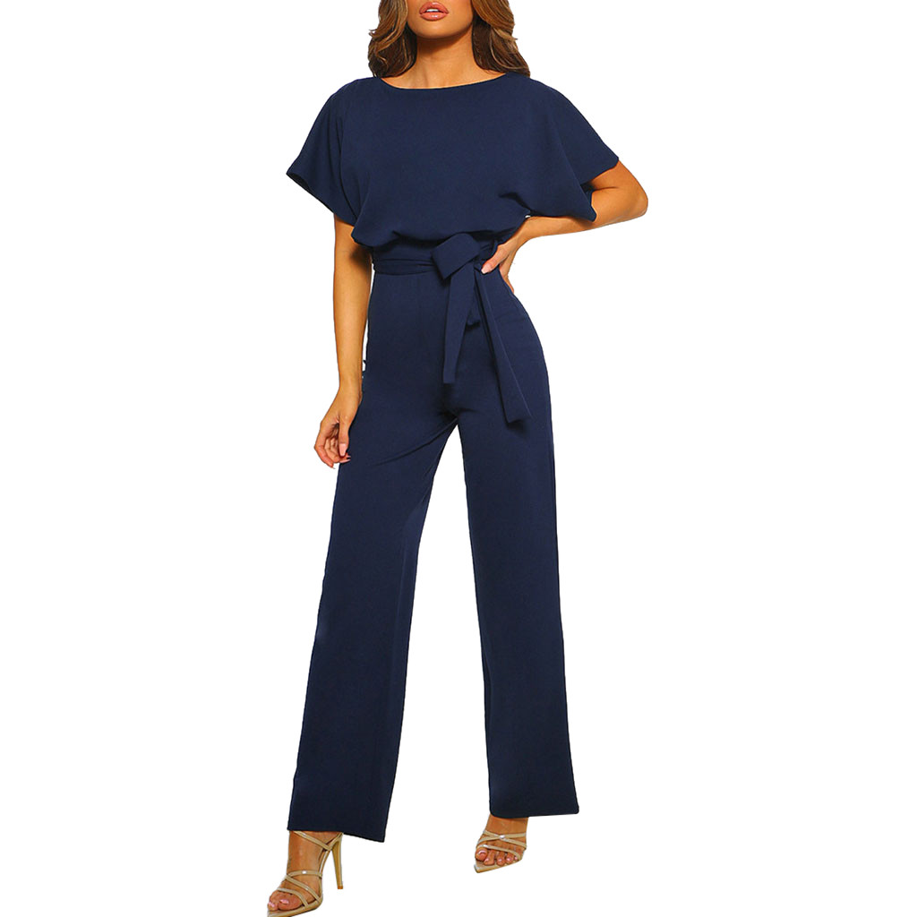 Lace Button Short Sleeve Jumpsuit Elegant Office Workwear Ladies Trousers Straight Long One Piece,Navy,XL,China