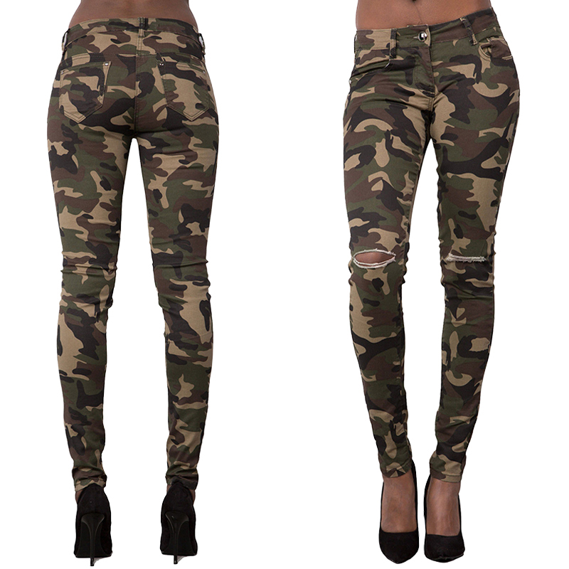 Womens Knee Broken Hole Stretchy Camouflage Pants Leggings   Jeans   Slim Thin