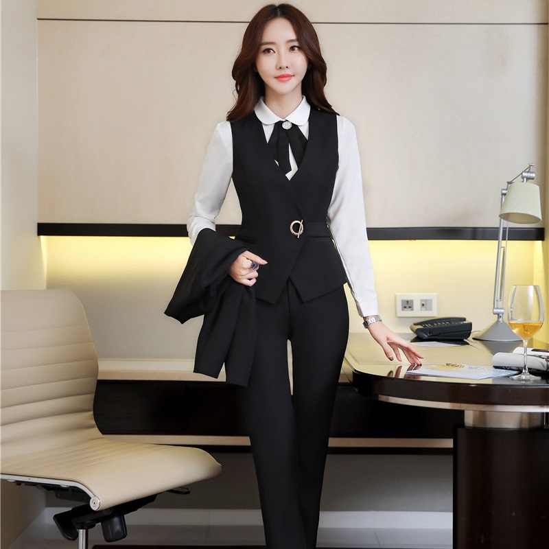 6c5c59b9d14ab Spring Autumn Slim Fashion Formal Pantsuits OL Styles Vest Coat With Pants  For Ladies Women Business Outfits Plus Size Black