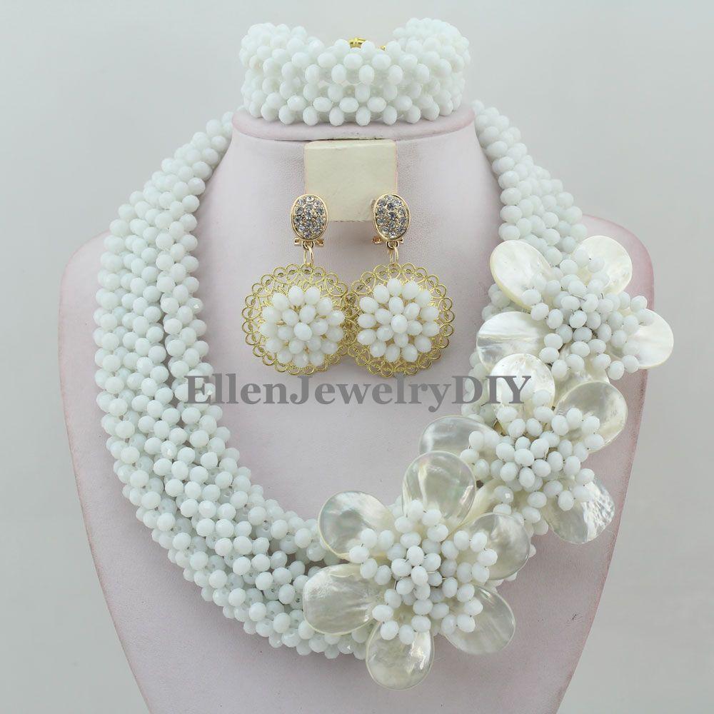 715f54d45068e Nowy Przybył Nigerii Ślubne koraliki biżuteria Ustaw Klasyczne Kobiety  Kryształ Naszyjnik Koraliki Afryki Zestaw Biżuterii W11821