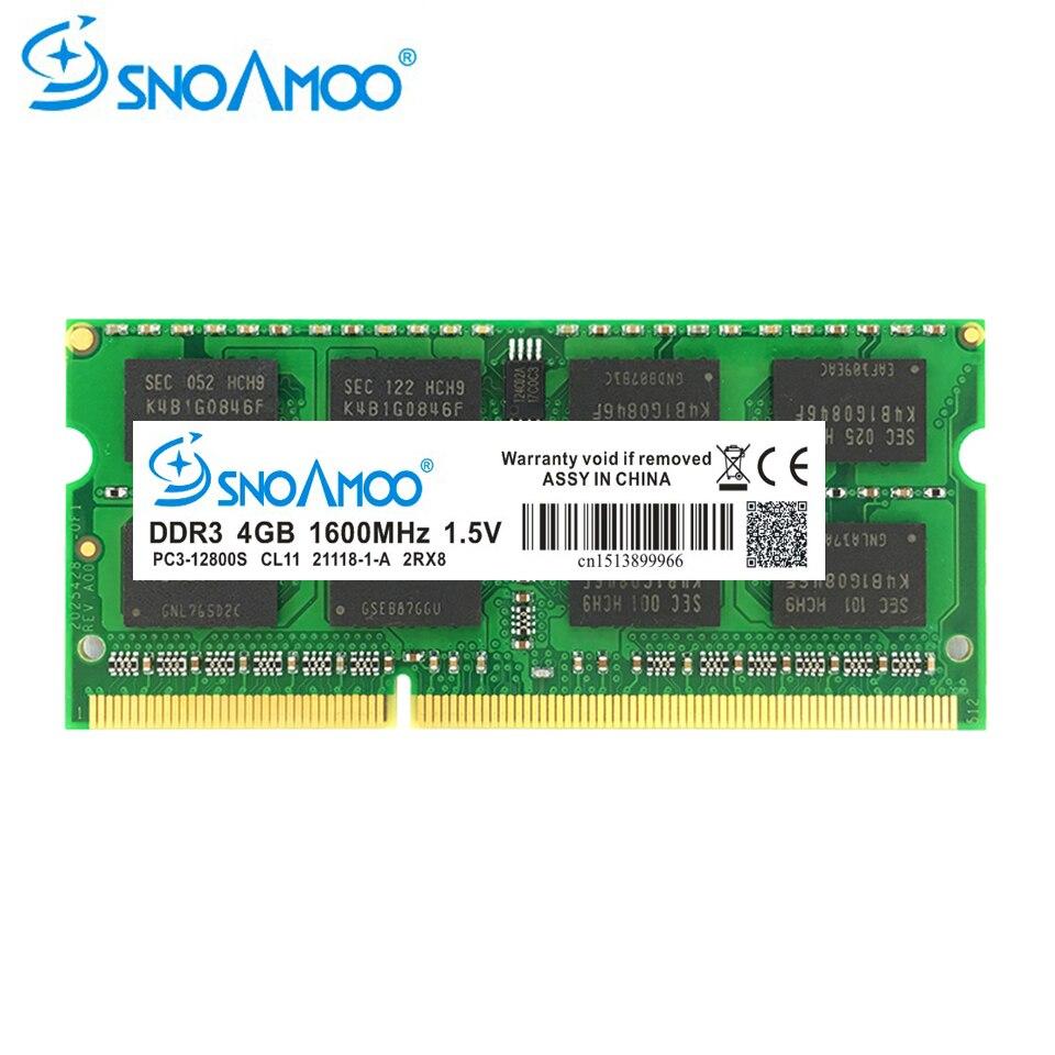 все цены на SNOAMOO Notebook Memory DDR3 4GB 8GB 1333MHz 1600MHz PC3-10600S For Laptop Memoria Ram Notebook Memory SO-DIMM 1.5V Warranty онлайн