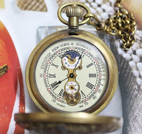 wholesale New Design Two Cover Tourbilon MoonPhase Pocket Watch все цены