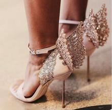 New sexy women high heel luxury sandals woman golden wings rhinestone thin heel sandal wedding shoes
