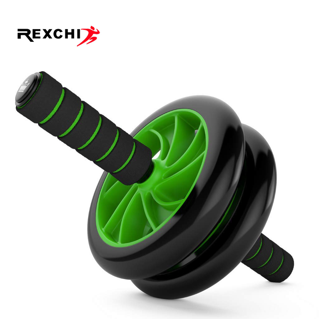 REXCHI Abdominal Ab Roller Home Gym Fitness Gear Abs Trainer With Mat Double Wheel Machine Muscle Exercise Workout Equipment