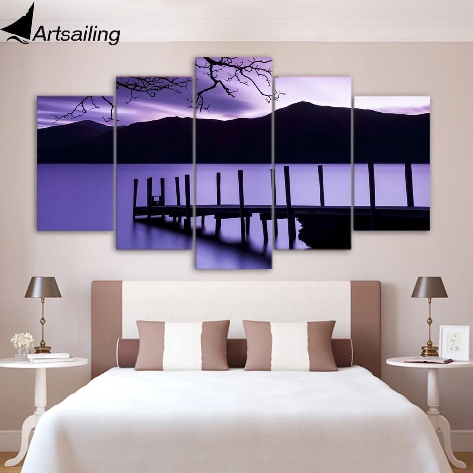 5 шт. холсте Фиолетовые сумерки Pier вечерние HD Печатный холст картины настенные панно для гостиной Бесплатная доставка xa1714a