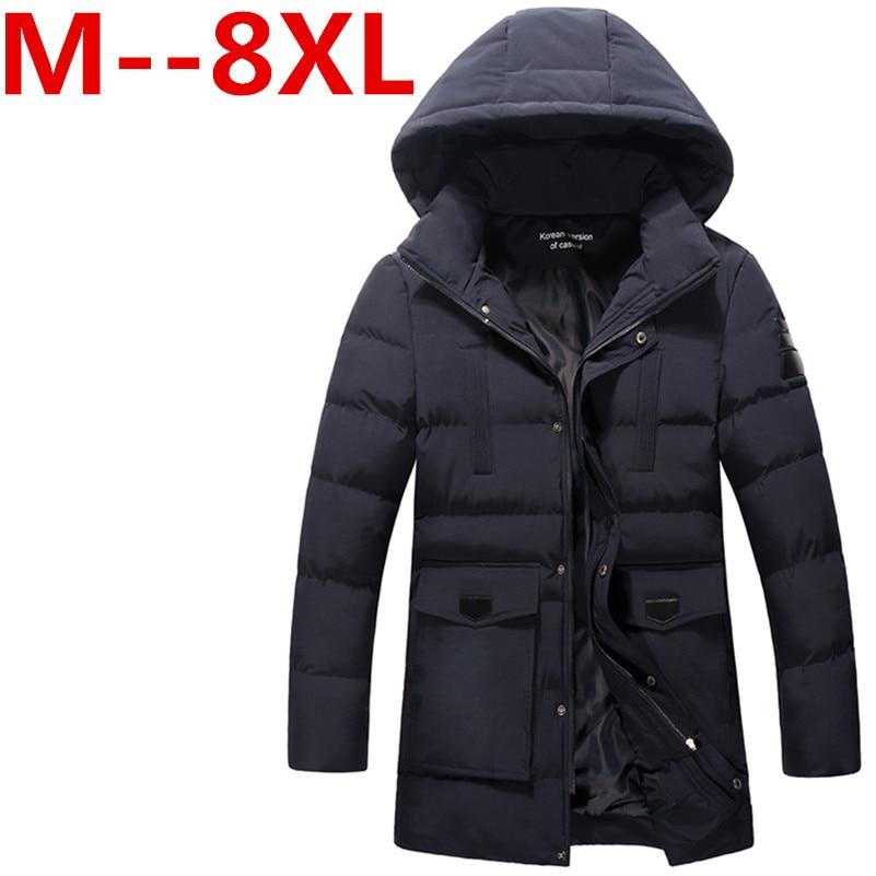 Big Guy Store 9XL 8XL 7X 6XL Oversized Casual Hood Green Military Parka Men 2016 Winter