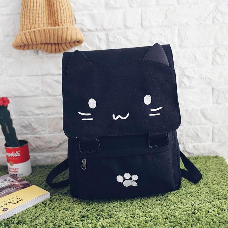 Women Backpack Canvas Cute Cat Travel Rucksack Student School Bag Kawaii Bookbags LT88