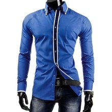 M casual shirt polyester mens Slim fitness dress print long sleeve
