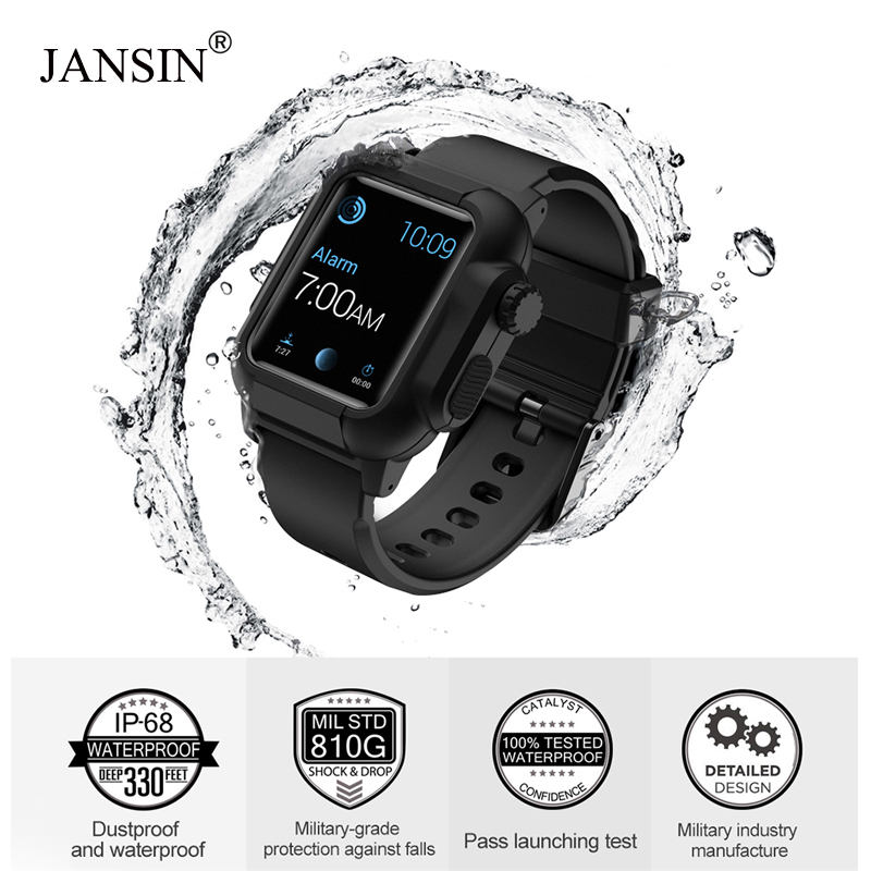 JANSIN Luminous Sport Strap For Apple Watch Band 44mm 42mm Waterproof Case Bracelet Bands Iwatch Series 4 3 2 Protective Cover