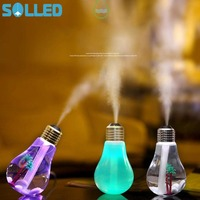SOLLED 400ML Mini USB Air Humidifier Portable Desktop LED Bulb Humidifier Quiet Operation Mistorizer With 7