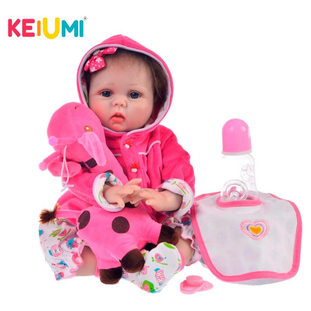 KEIUMI, nuevas muñecas Reborn de silicona de 22 pulgadas y 55 CM, juegos de muñecas Reborn rellenas para niños, sorpresa de cumpleaños