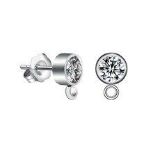 10 шт./партия нержавеющая сталь, кристаллы женские серьги соединители с кольцом для самодельных ювелирных изделий