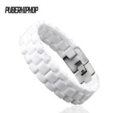 Модные Для мужчин браслет Элегантные украшения белый выпуклый ремень Керамика браслет для Для мужчин Для женщин 22 см длинные часы браслет ссылку прочный