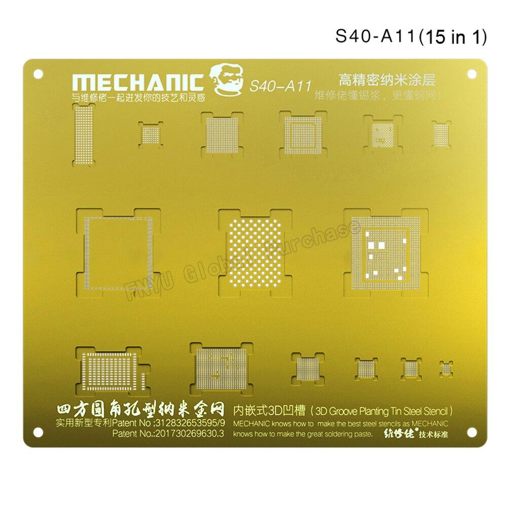 Купить с кэшбэком Plant Tin Mesh MECHANIC 3D Groove BGA Reballing Gold Stencil Multi-Function Steel Net For IPhone A9/A10/A11/A12 CHIP Template