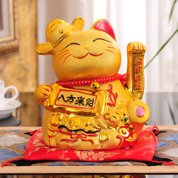 Lucky Cat Decoration Open Shop Shake Gold Ceramics Company Gift Cashier Front Desk Home Creative Gift