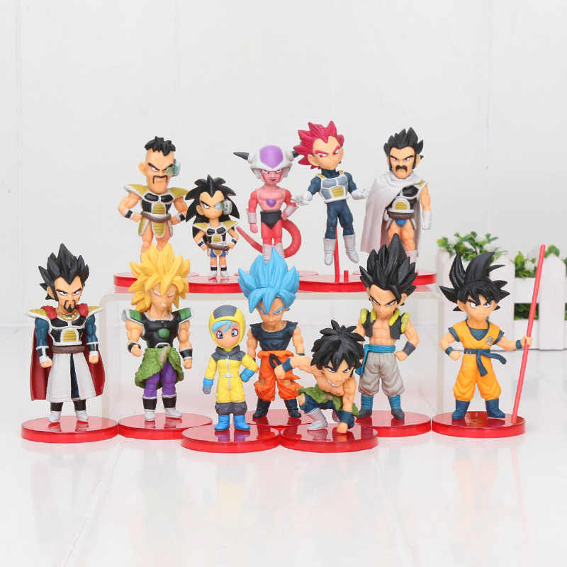 12 pçs/set figura Dragon Ball Z Super Saiyan Goku Broly figura modelo DBZ Raditz Vegeta Freeza Piccolo brolly Dragon ball brinquedo