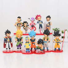 12 pçs/set figura Dragon Ball Z Super Saiyan Goku Broly figura modelo DBZ Raditz Vegeta Freeza Piccolo brolly Dragon ball brinquedo(China)
