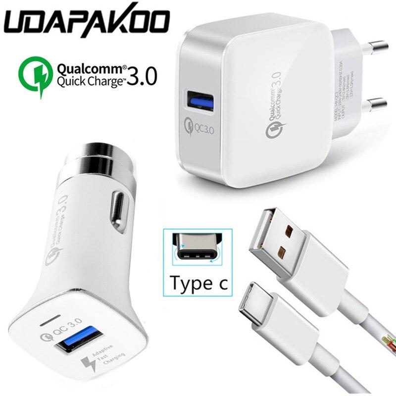 Быстрая зарядка 3.0 QC 2.0 ЕС быстрая Зарядное устройство адаптер + Автомобильное Зарядное устройство + Тип c USB кабель для Samsung Galaxy S8 xiao Mi A1 Mi 6 <font><b>LG</b></font> G6 &#8230;