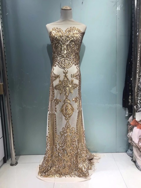 Gold Sequins Style African French Mesh Tulle Lace Sequined Indian