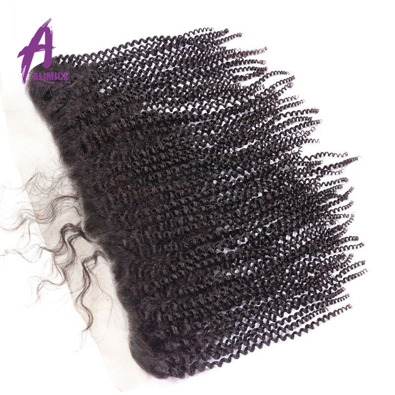 Alimice Hair Indian Kinky Curly Human Hair Lace Frontal Closure 134 With Baby Hair 100% NonRemy Human Hair Closure 10-24 inch (2)