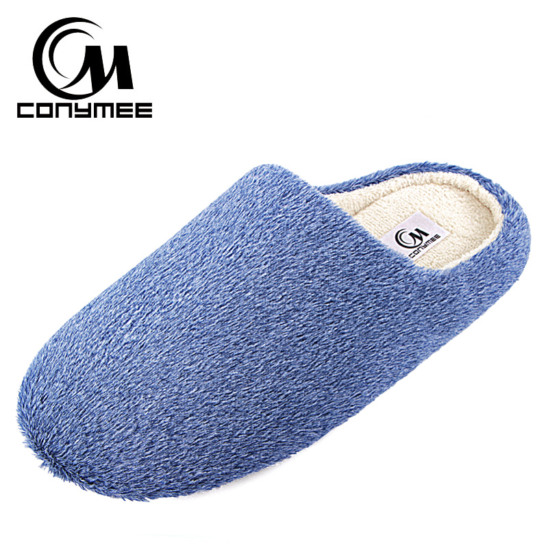 Winter Men Home Indoor Slippers Casual Cotton Shoes Soft Plush Bedroom Slippers House Footwear Thicken Male Warm Fluffy Slippers