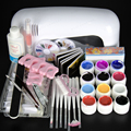 2016 New NAIL ART BASE TOOL 9W UV Lamp & 12 Color 14ml soak off Gel nail base gel top coat gel nail polish Art kit tools