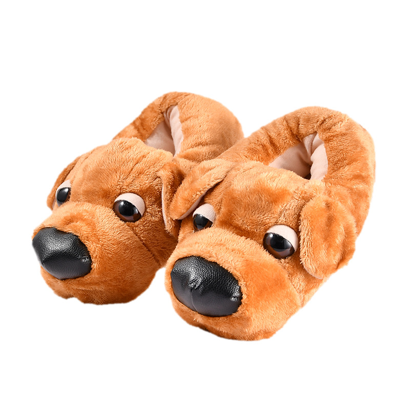 Winter Cute Brown Dog Slippers Women Adult Casual Flock Fur Shoes Indoor Warm Slipper With Fur Plush Cartoon Animal Shoes