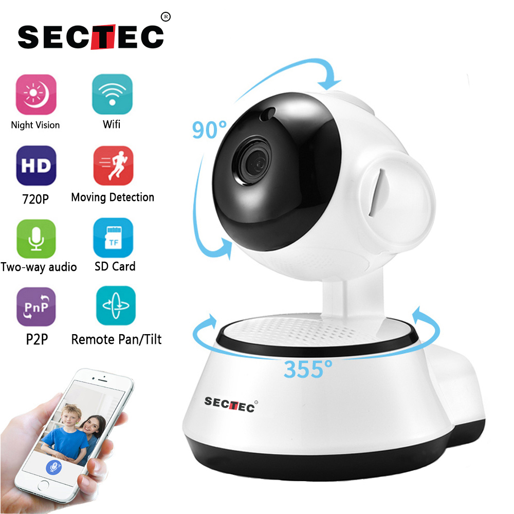 SECTEC IP Camera Wireless 720P Home Security Surveillance Mini CCTV Network Camera Night Vision Two Way Audio Baby Monitor V380