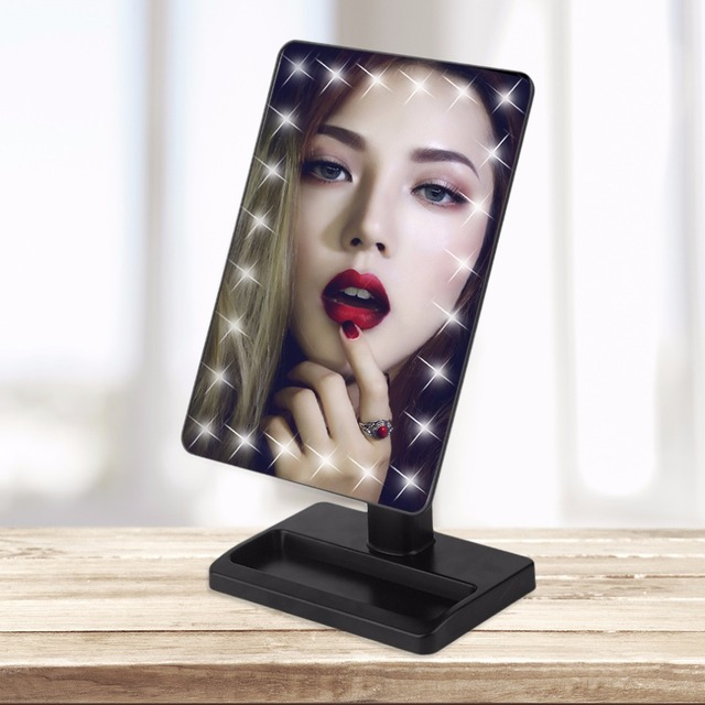 Square Shpe Desktop Adjustable Brightness LED Facial Makeup Mirror Women  Bedroom Tabletop Make Up Mirror Cosmetic