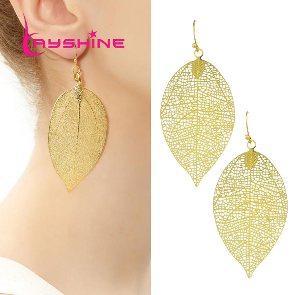 2016 New Arrival brincos Women's Trendy Long Earrings Hollow Out Leaf Gold Dangle bohemian Party Earrings Female Accessories