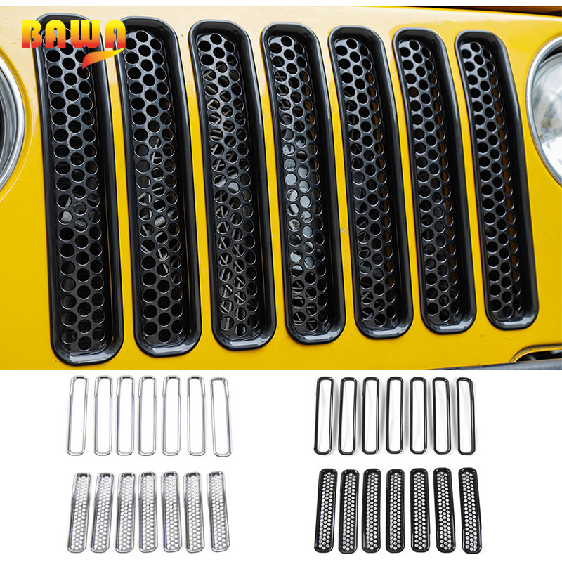 BAWA Honeycomb Mesh Front Grill Inserts Kit for Jeep Wrangler TJ 1997 2006 ABS Car Stickers Accessories
