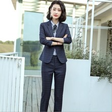 Office Uniform Style Women Formal Pant Suits Women Work Pant Skirt Suit Plus Size Red Grey Blue 2 Piece Set Womens OL Pantsuits