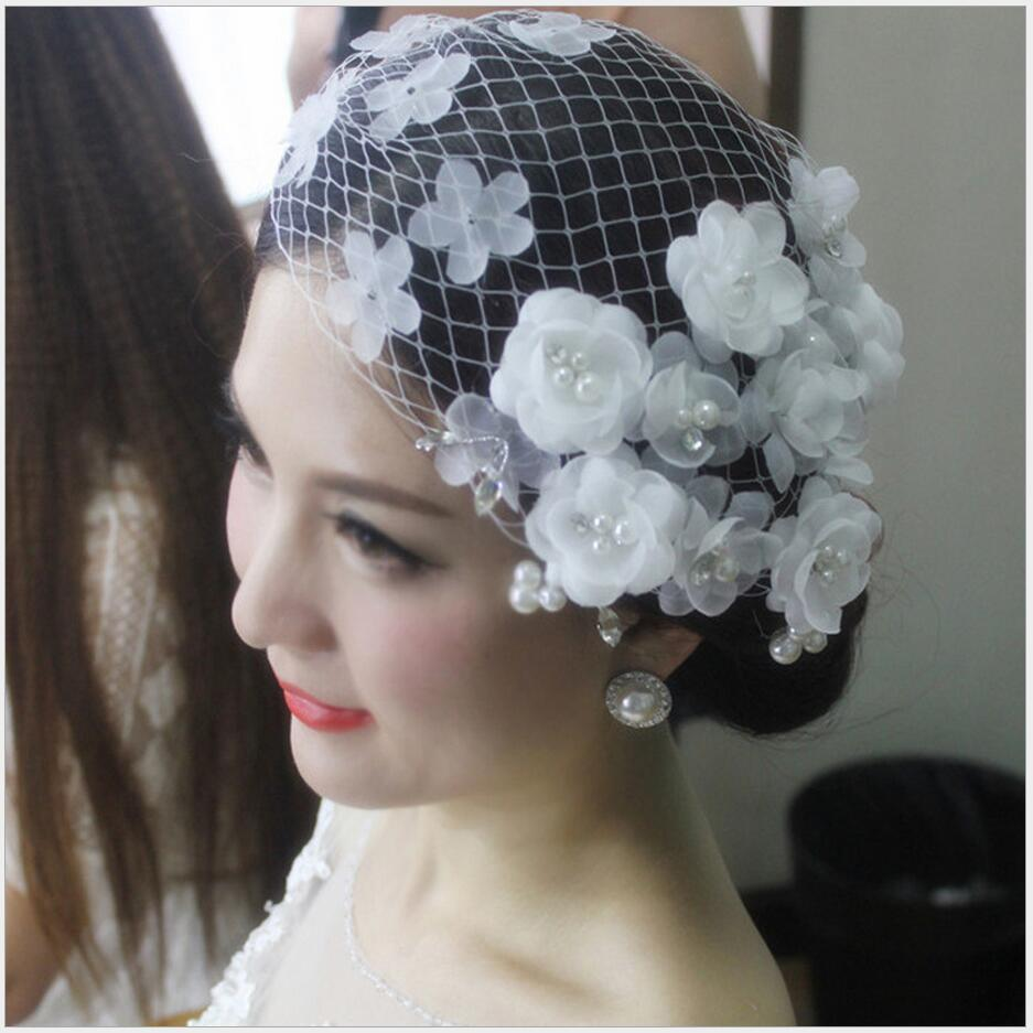 Aliexpress Buy BH32 Original Design Ivory White Wedding Veil Hats With Pearl Flower Decoration Romantic Party Small Bridal From Reliable