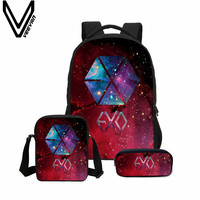 VEEVANV 3 Pcs Set School Bags EXO Printing Backpack Children Shoulder Bag 2018 Mochila Girls 3D