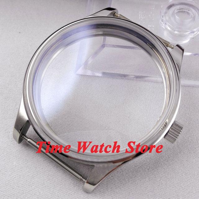 cb415d02683 Ajuste ETA 6497 6498 movimento parnis 44mm pequena coroa caixa do relógio  em aço inoxidável Polido