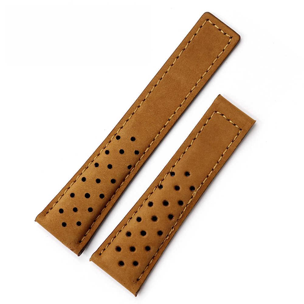 22mm montre bande veau véritable cuir montre-bracelet for Heuer Monaco Carrera