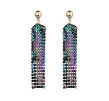 Sequin Long Tassel Drop Dangle Earrings Curtain Fringe Earrings Disc Bar Club Jewelry for Women Girls(China)