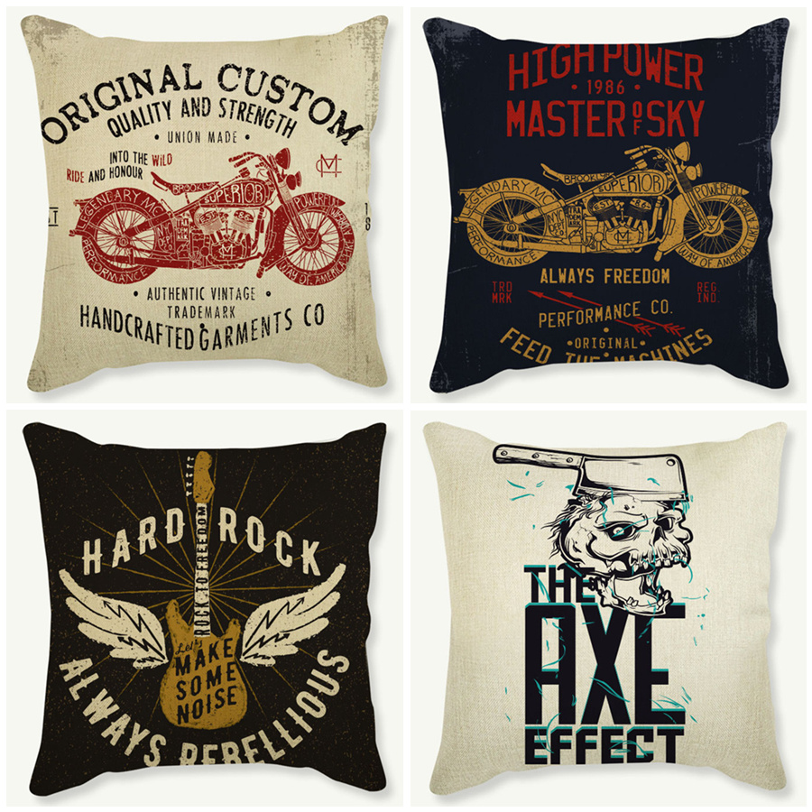 vintage motorcycle style cushion covers cushion cover pillow case letter guitar cartoon decor. Black Bedroom Furniture Sets. Home Design Ideas