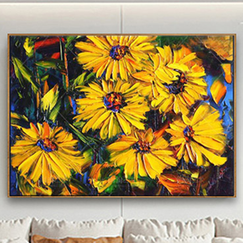 100 Hand Painted Abstract Sunflower Art Painting On Canvas Wall Art Wall Adornment Pictures Painting For Live Room Home Decor in Painting Calligraphy from Home Garden