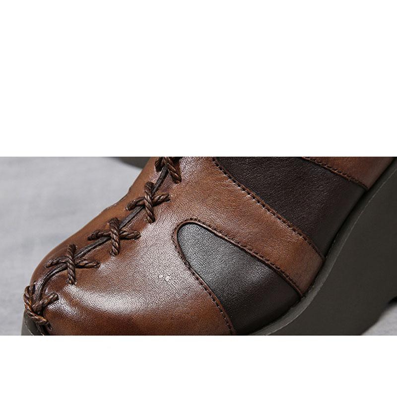 1 Flache Leder Lace Stiefeletten Plattform Schuhe Echtes Sticken 2 Runde Zehen Up Handgemachte Stiefel Frauen xzPOqYnw