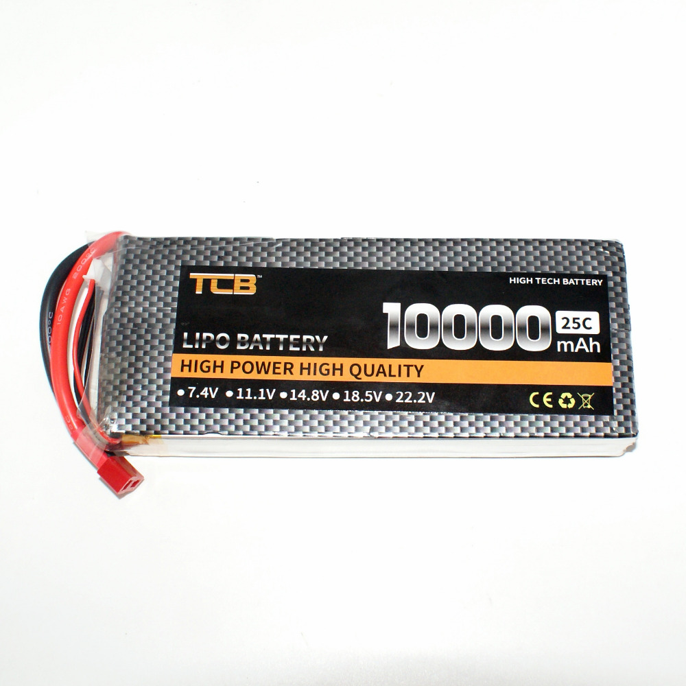 TCB RC lipo battery 7.4v 10000mAh 25C 2s for rc airplane drone free shipping mos 4s 14 8v 5200 25c lipo battery for rc airplane free shipping