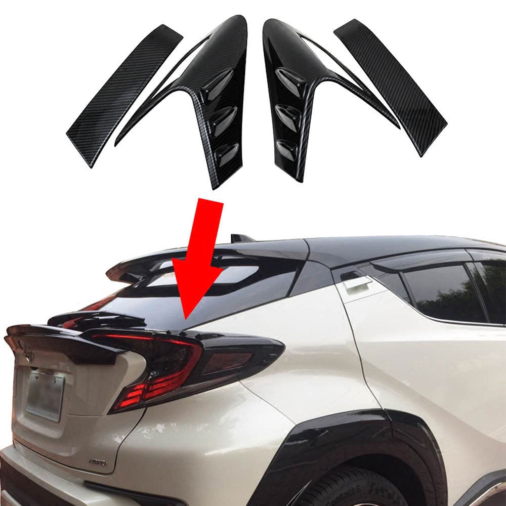 For Toyota C HR CHR 2017 2018 Car Rear Back Lamp Tail light Cover Trim Carbon