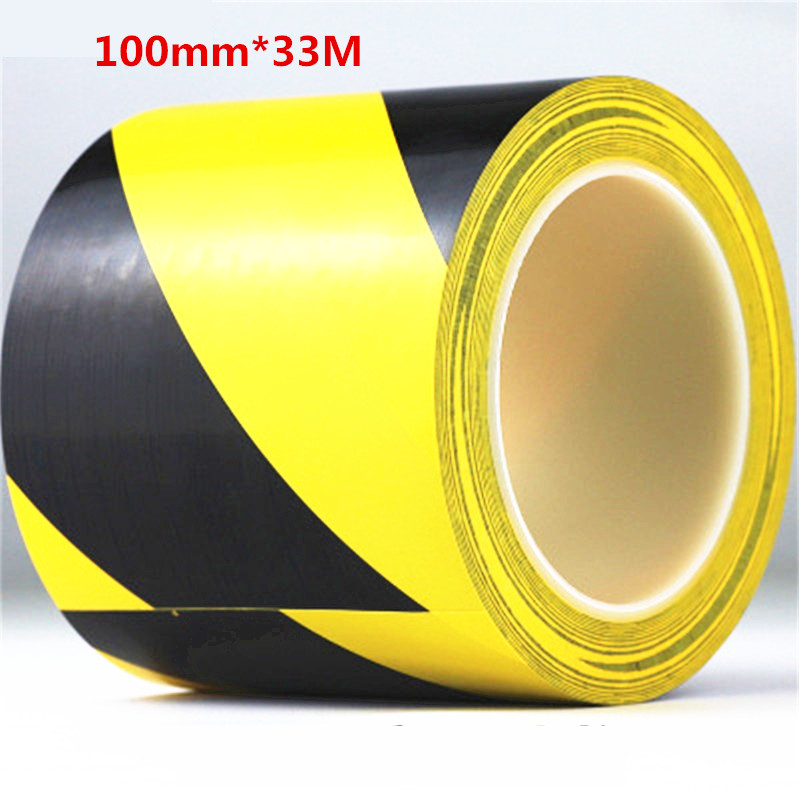 100mm*33M PVC waterproof floor warning tape zebra tape logo tape Yellow Black Color tape for Highway traffic multi color 1 roll 20m marking tape 100mm adhesive tape warning marker pvc tape
