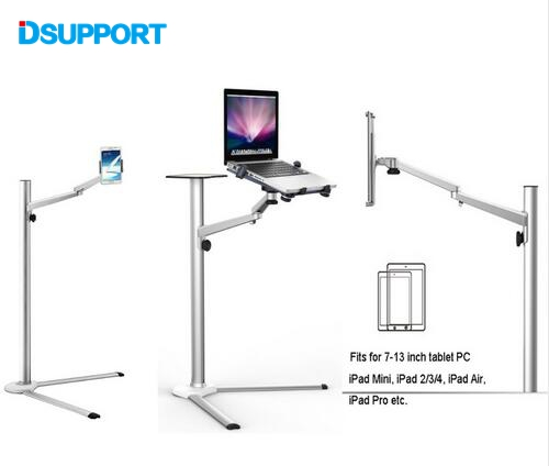 Free Shipping 3 in1 UP-8 Aluminum Alloy 7-13 Tablet PC+ Smartphone Holder + Laptop Floor Stand Rotary Swivel with Mouse Tray