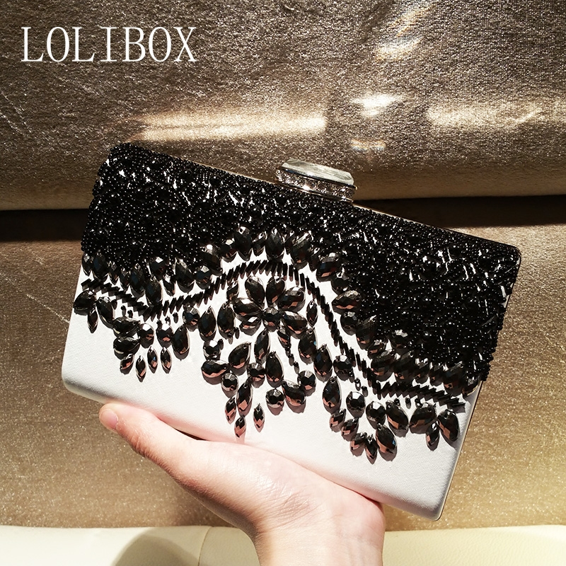 LOLIBOX zwart en wit geborduurde dames avond clutch bags bruid - Handtassen - Foto 2