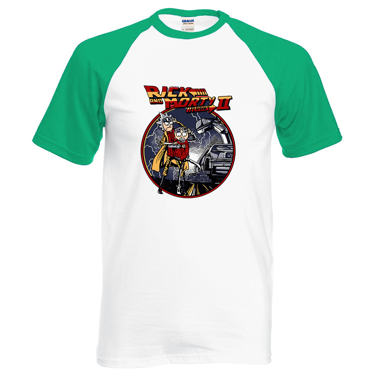 New 2018 Summer Raglan Men T Shirt Rick and Morty Back To The Future Print Cotton High Quality Anime Male T-Shirts Hip Hop Tops