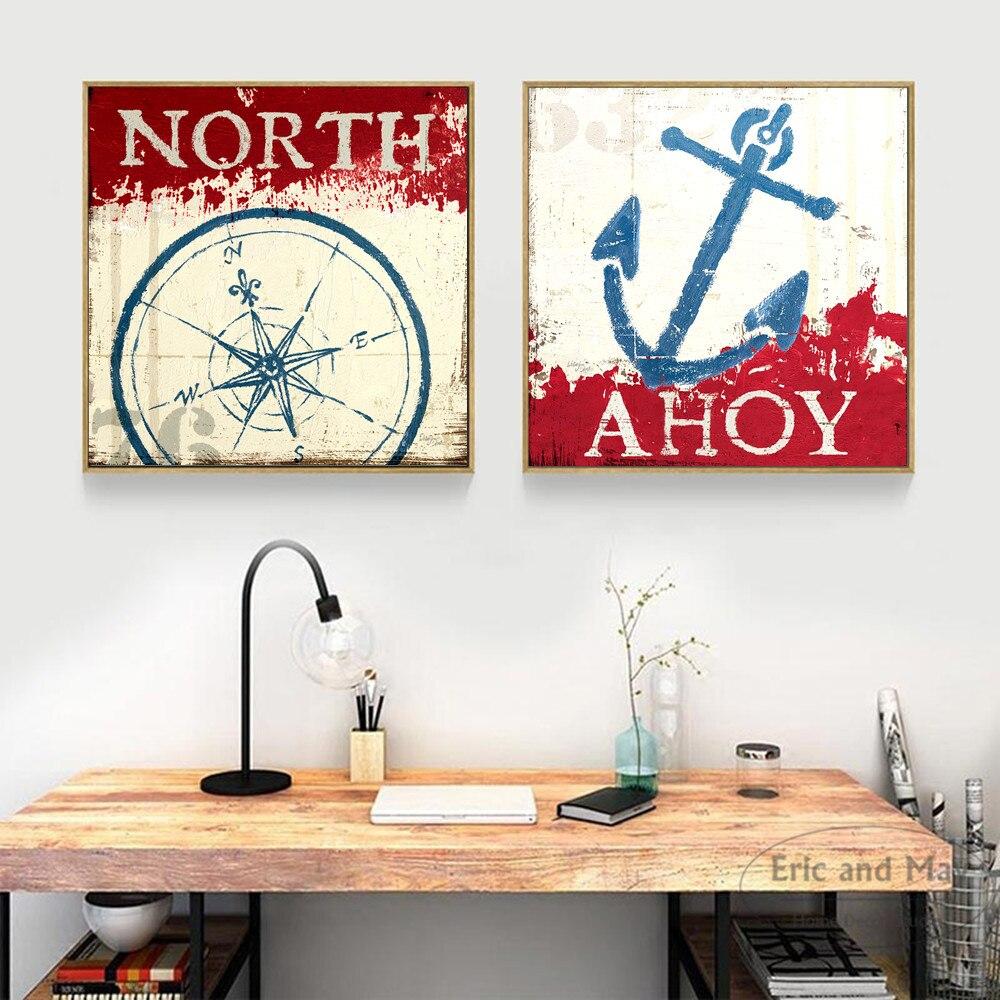 Námořní kotva Compass Canvas Umělecká reprodukce Malba Plakát Nástěnné obrazy pro obývací pokoj Domov Dekorace Dekor bez rámu