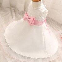 Verão rosa arco branco princess dress baby girl wedding dress pérola O-pescoço Infantil Mês Inteiro ou Festa De Aniversário 1 Ano dress